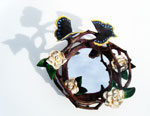 White Rose Wreath Mirror (with Mourning Cloak Butterflies)