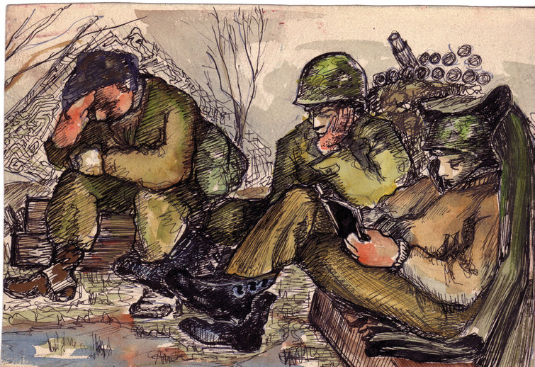 ink sketch and water color of resting soldiers